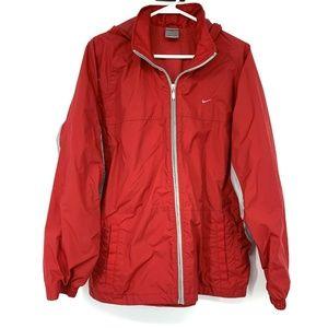 Nike Red Gray Full Zip Hooded Windbreaker Jacket
